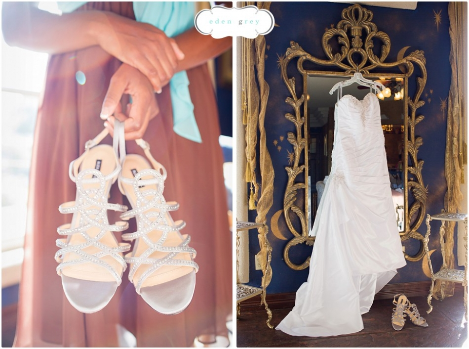 The brides wedding dress and shoes