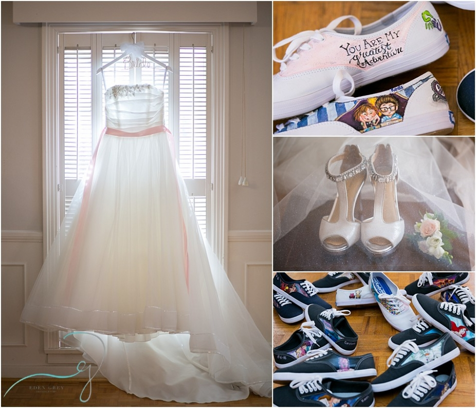 Disney themed bridesmaid shoes along with a pretty pink wedding dress