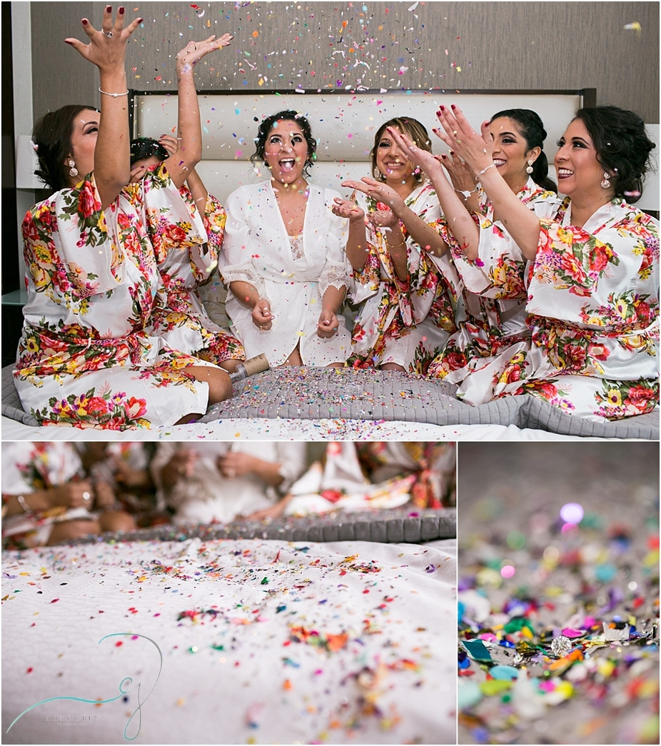 Bridesmaids popping confetti & champagne before the wedding