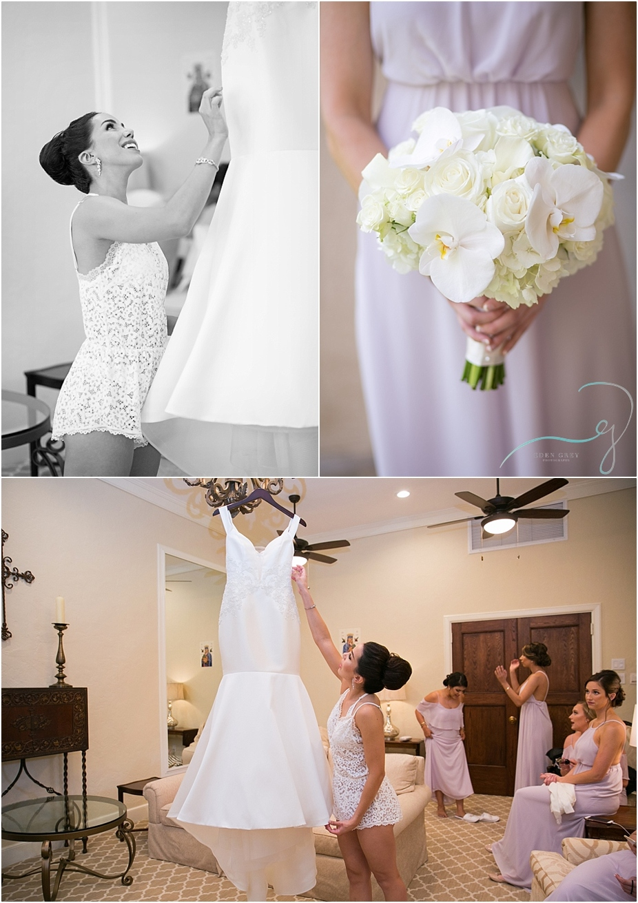Bridal rompers and orchid bouquets