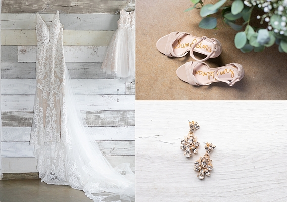 Martina Liana Wedding Dresses, Sam Edelman Wedding shoes, BHLDN earrings, wedding earrings